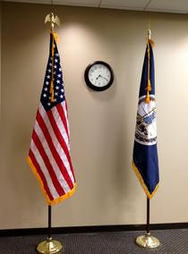 INDOOR AMERICAN FLAG AND INDOOR STATE FLAG BY BALD EAGLE FLAG STORE 540-374-3480 BALDEAGLEINDUSTRIES.COM  oldest commercial flagpole and flag store in Fredericksburg serving Richmond, Petersburg, Hampton, Newport News, Norfolk, Va Beach, Arlington, Alexandria, Fairfax, Springfield, Woodbridge, Quantico Mrine Corps Base, Stafford