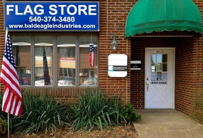 BALD EAGLE FLAG STORE FREDERICKSBURG VIRGINIA USA (540) 374-3480 DIVISION OF BALD EAGLE INDUSTRIES, COMMERCIAL FLAGPOLE, FLAG AND FLAG PRODUCT SINCE 1979 FLAGPOLE INSTALLATION IN THE FREDERCKSBURG VA REGION