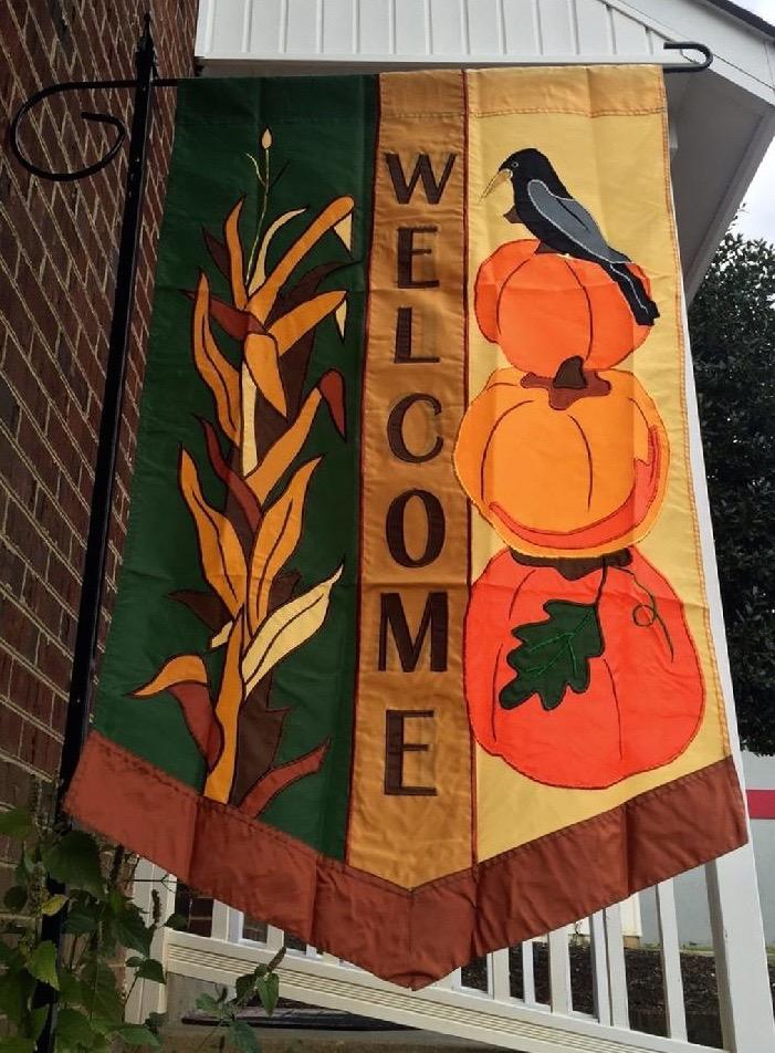 APPLIQUE FALL WELCOME FLAG, A HAND CRAFTED APPLIQUE FLAG FROM BALD EAGLE FLAG STORE FREDERICKSBURG VA USA PHOTOGRAPH BY BALDEAGLEINDUSTRIES.COM