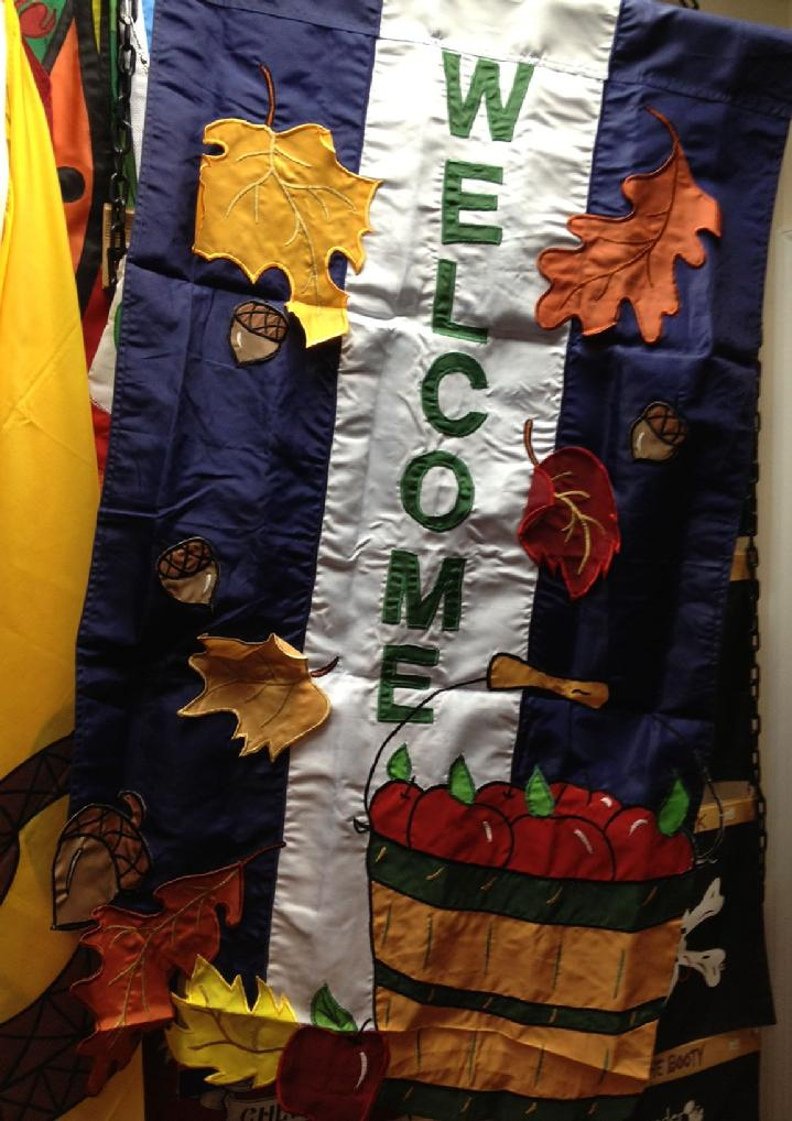 LARGE APPLIQUE FALL WELCOME FLAG FROM BALD EAGLE FLAG STORE (540) 374-3480 BALDEAGLEINDUSTRIES.COM