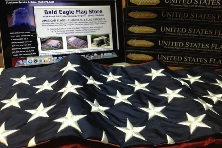 AMERICAN FLAG SALES, FLAGPOLE SALES AND CUSTOM FLAG SALES BY BALD EAGLE FLAG STORE DIVISION OF BALD EAGLE INDUSTRIES FREDERICKSBURG VA, PHOTOGRAPH BY BALDEAGLEINDUSTRIES.COM (540) 374-3480 SERVING RICHMOND, HAMPTON, NEWPORT NEWS, NORFOLK, VA BEACH, ARLINGTON, ALEXANDRIA, FAIRFAX, WINCHESTER, HARRISONBURG, ROANOKE, CHARLOTTESVILLE, STAFFORD, QUANTICO MARINE CORPS BASE SINCE 1979