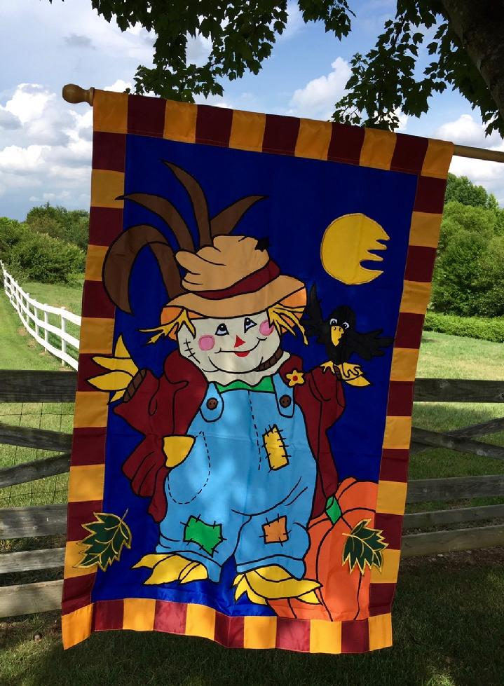 APPLIQUE SCARECROW FLAG FALL FLAG BY BALD EAGLE FLAG STORE 540-374-3480 PHOTOGRAPH BY BALDEAGLEINDUSTRIES.COM