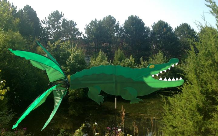 allie the alligator whirlygig garden spinner, this alligator looks ready for a swim, from our collection of whirligigs, lawn spinners, flags and kites