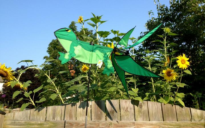 premier kites frog whirligig garden spinner at bald eagle flag store, the oldest operating commercial flagpole and flag store in fredericksburg