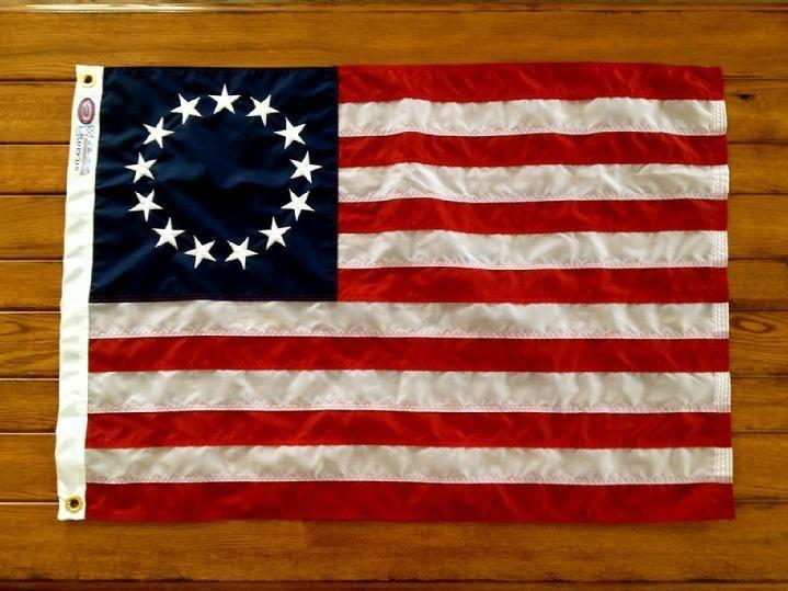BETSY ROSS FLAG MADE IN USA BY BALD EAGLE FLAG STORE DIVISION OF BALDEAGLEINDUSTRIES.COM FREDERICKSBURG VA USA (540) 374-3480 Commercial Flagpole, Flag and Flag Product Since 1979