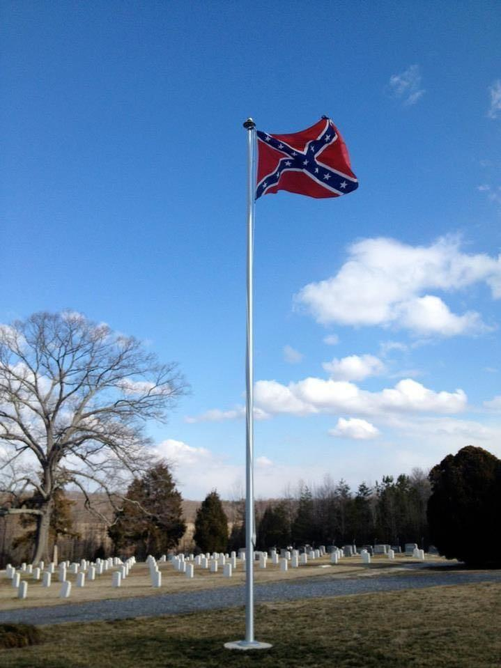 CONFEDERATE FLAG AND FLAGPOLE AT THE CONFEDERATE CEMETERY BY BALD EAGLE FLAG STORE FREDERICKSBURG VIRGINIA USA, 540-374-3480 PHOTOGRAPH BY BALDEAGLEINDUSTRIES.COM