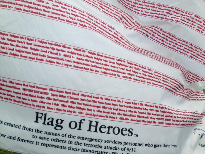 official flag of heros and flag of honor flag produced by annin flagmakers, provided by bald eagle industries, sold by bald eagle flag store, the oldest operating commercial flagpole and flag store in fredericksburg, flag of heros flag to honor 9 11, flag of heros flag made right here in va