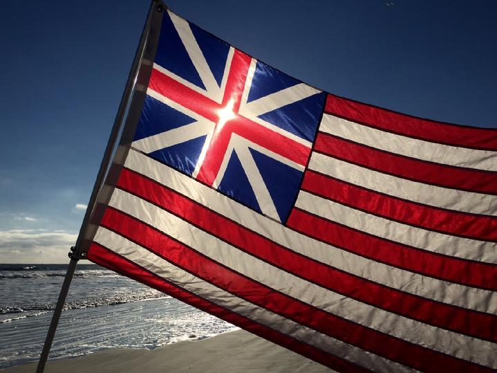GRAND UNION FLAG FROM BALD EAGLE INDUSTRIES AND BALD EAGLE FLAG STORE SERVING FREDERICKSBURG, RICHMOND, HAMPTON, NEWPORT NEWS, NORFOLK, VA BEACH, ARLINGTON, ALEXANDRIA, FAIRFAX, WINCHESTER, FRONT ROYAL, WARRENTON, CHARLOTTESVILLE, ROANOKE, HARRISONBURG, WINCHESTER, STAFFORD, QUANTICO MARINE CORPS BASE, PHOTOGRAPH BY BALDEAGLEINDUSTRIES.COM
