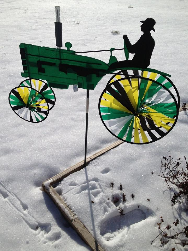 green tractor spinner from premier kites at bald eagle flag store fredericksburg, the oldest flag store and kite shop in fredericksburg