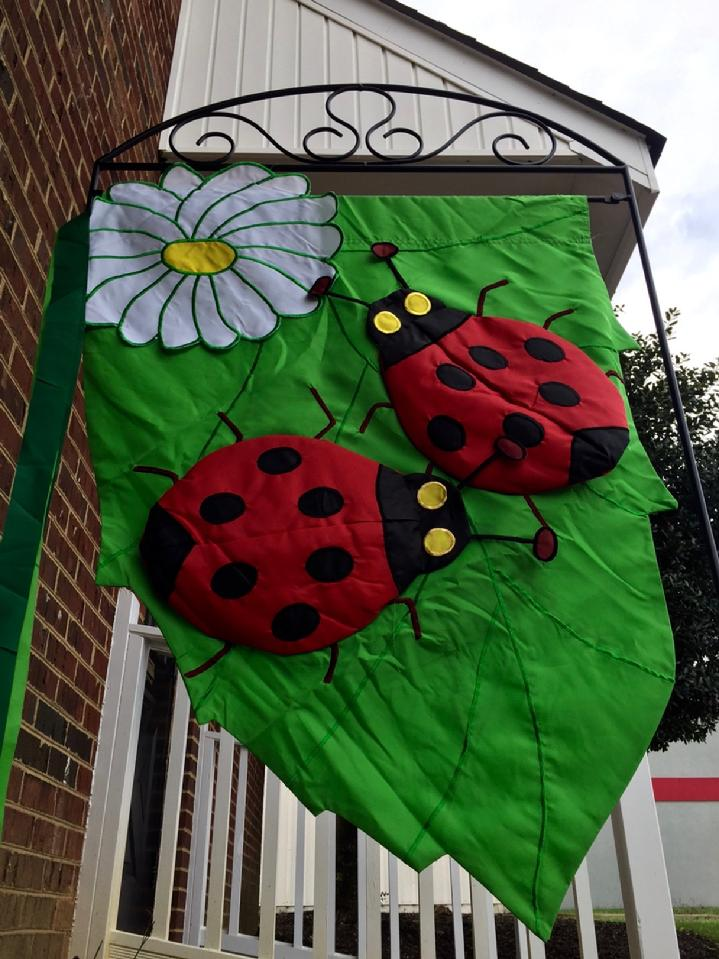DELUXE 3D APPLIQUE LADYBUG FLAG BY BALD EAGLE FLAG STORE, 540-374-3480 LARGE FLAG STAND BY BALD EAGLE INDUSTRIES FREDERICKSBURG VA