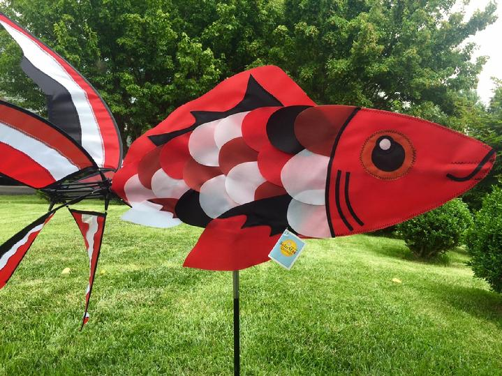 RED KOI FISH SPINNER GARDEN SPINNER SALES BY BALD EAGLE FLAG STORE FREDERICKSBURG VIRGINIA USA 540-374-3480 PHOTOGRAPH BY BALDEAGLEINDUSTRIES.COM