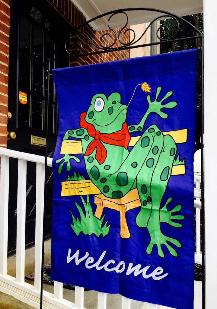 Beautiful Large Applique Frog Welcome Flag and Large Flag Stand by Bald Eagle Flag Store Fredericksburg Virginia (540) 374-3480 from our collection of beautiful fully sewn appliqué flags