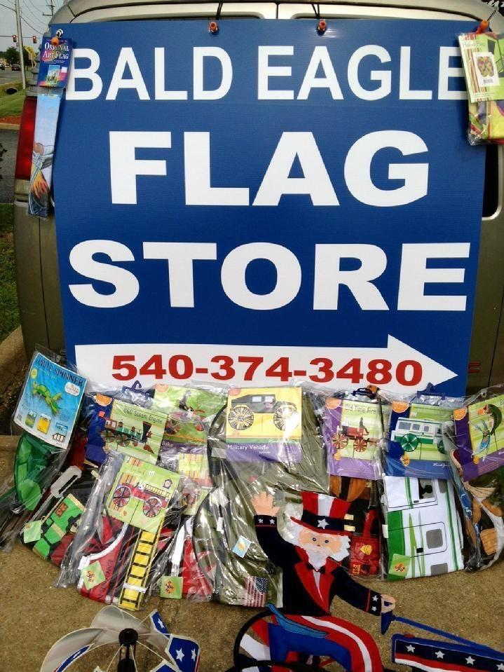 LIQUIDATION SALE AT BALD EAGLE FLAG STORE FREDERICKSBURG VA UP TO 50 PERCENT OFF KITES, WINDSOCKS, GARDEN SPINNERS AND GARDEN FLAGS 540-374-3480 PHOTOGRAPH BY BALDEAGLEINDUSTRIES.COM