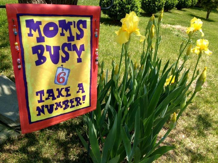 MOMS BUSY TAKE A NUMBER GARDEN FLAG BY BALD EAGLE FLAG STORE FREDERICKSBURG VA (540) 374-3480 BALDEAGLEINDUSTRIES.COM flag store serving Richmond, Hampton, Newport News, Norfolk, Va Beach, Arlington, Alexandria, Fairfax, Winchester, Harrisonburg Roanoke, Charlottesville, Culpepper, Warrantor, Haymarket, Front Royal, Luray, Shenandoah, Massanutten, Stafford, Quantico