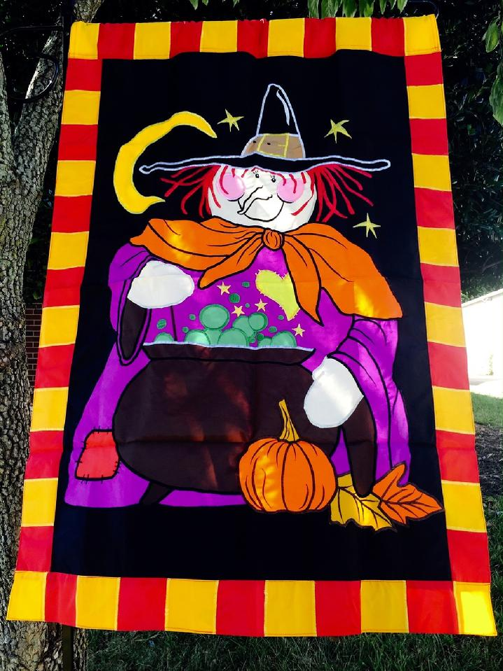 Deluxe Extra Large Witch's Brew Witch Flag by Bald Eagle Flag Store 540-374-3480 BALDEAGLEINDUSTRIES.COM the oldest operating commercial flagpole and flag store in Fredericksburg Virginia
