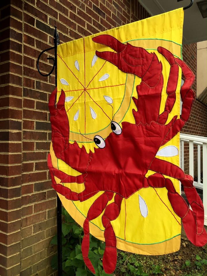 BEAUTIFUL LARGE RED CRAB FLAG DELUXE 3D APPLIQUÉ FLAG DOUBLE SIDED CRAB FLAG BY BALD EAGLE FLAG STORE DIVISION OF BALD EAGLE INDUSTRIES, PHOTOGRAPH BY BALDEAGLEINDUSTRIES.COM (540) 374-3480