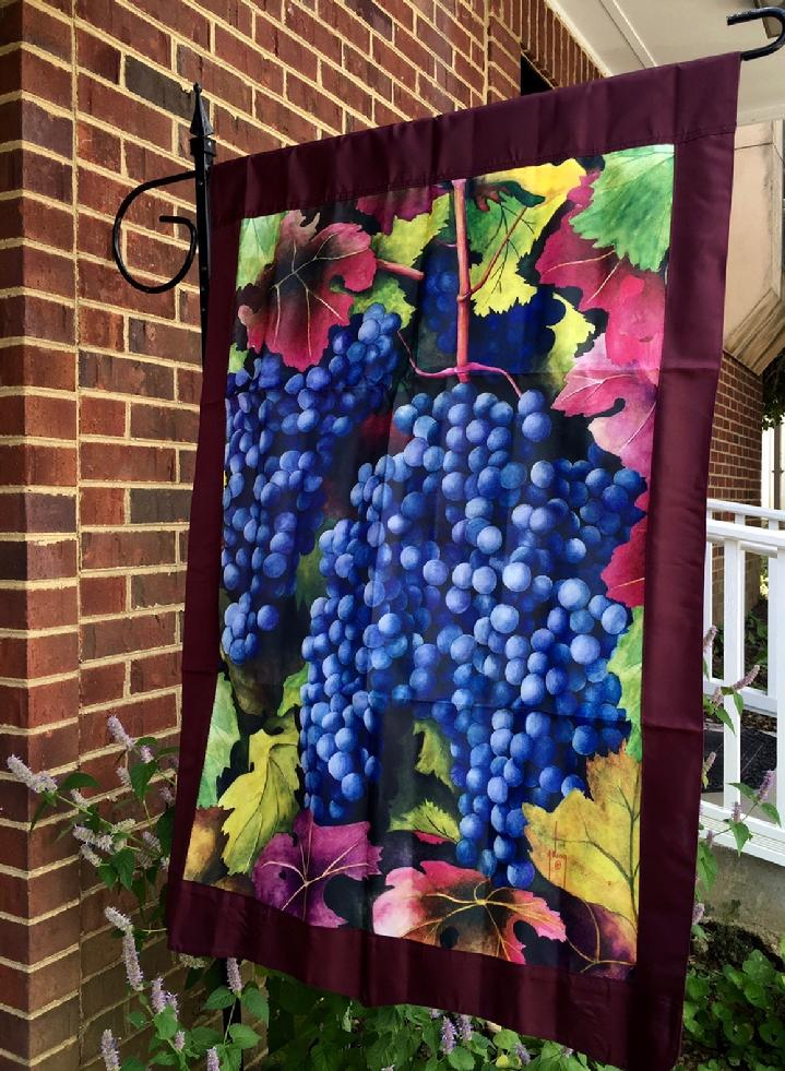 VINTAGE GRAPES FLAG FOR WINERY BY BALD EAGLE FLAG STORE FREDERICKSBURG VA USA 540-374-3480 PHOTOGRAPH BY BALDEAGLEINDUSTRIES.COM