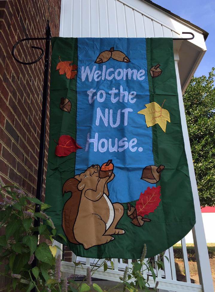 WELCOME TO THE NUT HOUSE FLAG VINTAGE APPLIQUÉ FLAG BY BALD EAGLE FLAG STORE 540-374-3480 PHOTOGRAPH BY BALDEAGLEINDUSTRIES.COM