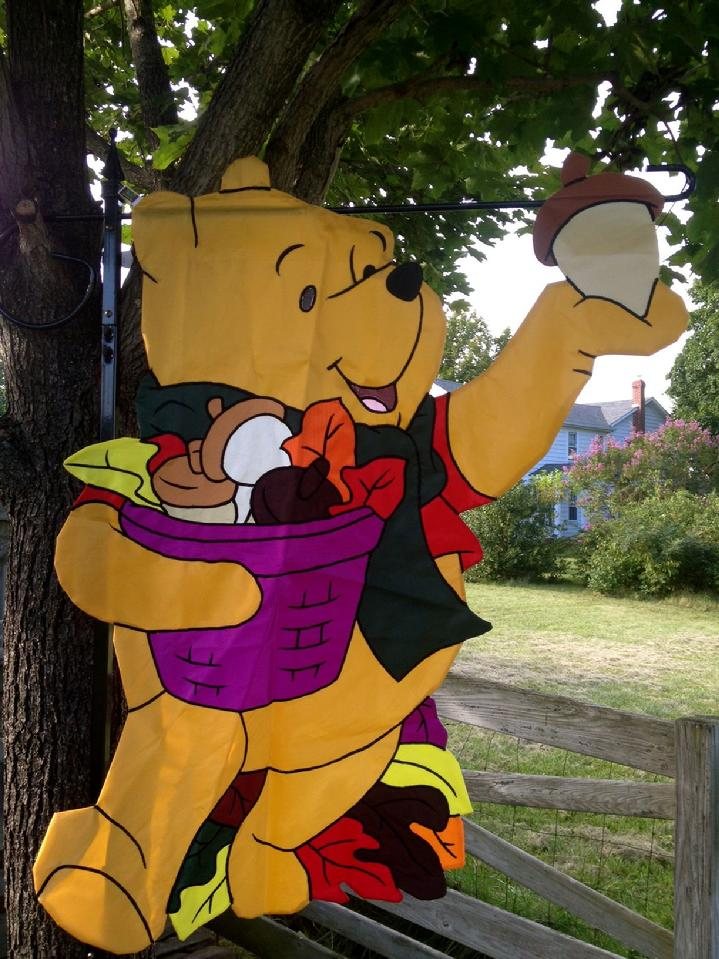 large winnie the pooh flag made in 1998 at bald eagle flag store fredericksburg va, a large 3d flag from our private collection of vintage flags from years past, winnie the pooh holding an acorn flag, a rare winnie the pooh flag by new creative enterprises